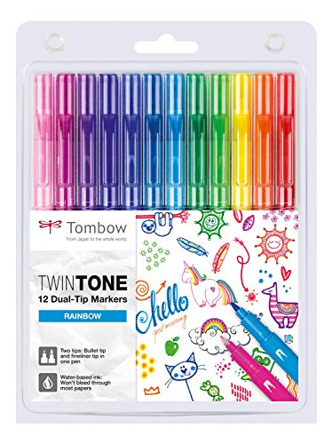 Tombow Twintone Dual-tip Markers (Set of 12) - Rainbow colours