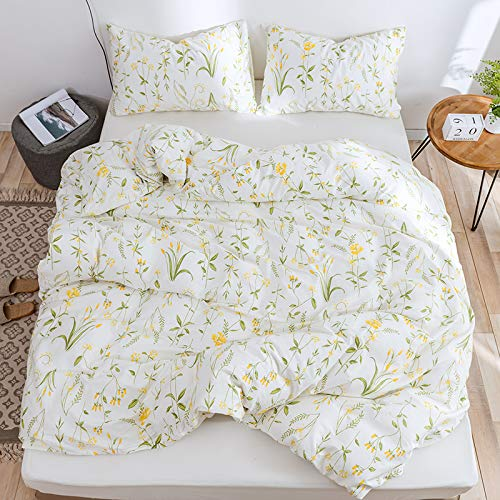 Lurson Botanical Floral Duvet Cover Full Set 100% Cotton Modern Rustic Boho Floral Printed Reversible Bedding Set White Plants Flower Blossom Comforter Quilt Cover Zipper Closure (3pcs,HH,F)