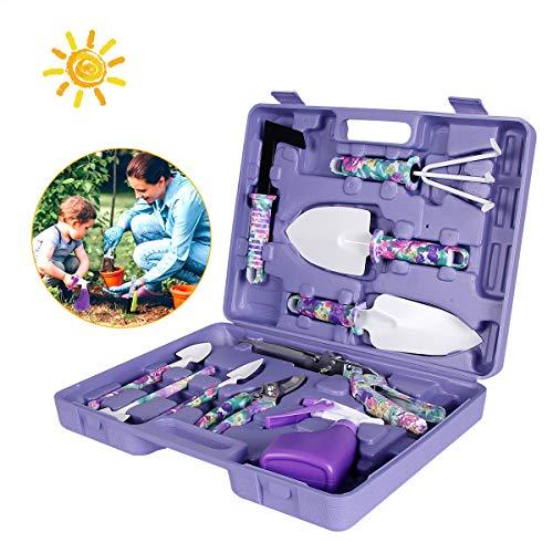 Gartenset Werkzeug,Gartenwerkzeug Sets,Garten Werkzeug mit Schaufel Spaten Gartenschere Unkrautkelle in Tragekoffer Ergonomische Anti-Rutsch-Griff,Geschenk für Gartenliebhabe (lila)