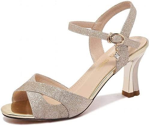 Strass Damen Sandalen Fairy Wind Sommer Mode Sommer Schuhe High Heel Damenschuhe, Gold, 37