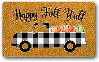 Happy Fall Yall Doormat Autumn Decorations Welcome Door Mat Truck Pumpkin Decor Gift Entry Sign Funny Floor Mat Door Mat Non-Slip 23.6 by 15.7 Inch Machine Washable Indoor/Outdoor