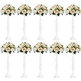 10 Pezzi Vaso di Metallo per Centrotavola di Nozze Decorazione-Pilastro Supporto per Candela Set per la Cena di Nozze Cena Centrotavola Evento Decorazioni per la Casa (Bianco, 50cm)