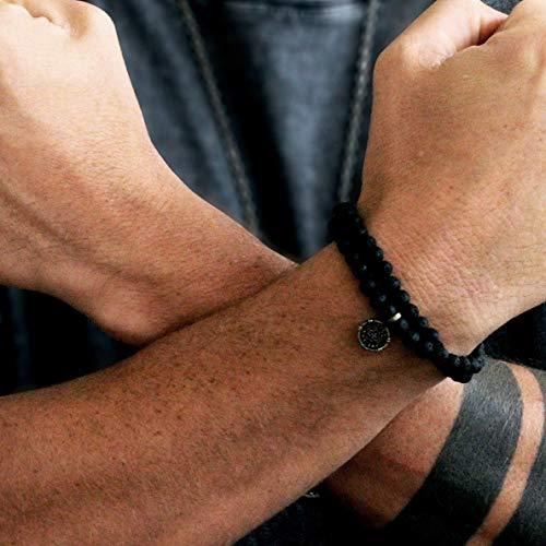 Men's Black Lava Rock Beaded Bracelet With Silver Carpe Diem Coin