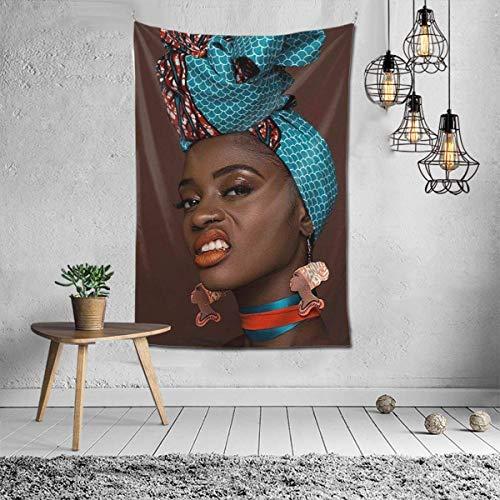 Resplandor Princesa Melanin Rojo Africano Labios Tapiz para colgar en la pared, Decoración para dormitorio, sala de estar, dormitorio 156 x 100 cm