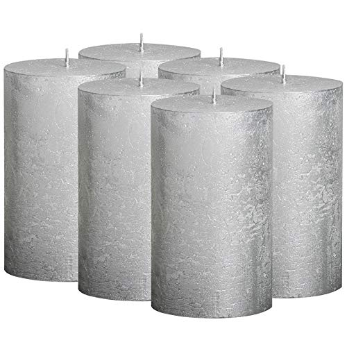 BOLSIUS Rustic Metallic Set of 6 Silver Unscented Pillar Candles Inches