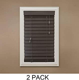 Home Decorators Collection Espresso 2-1/2 in. Premium Faux Wood Blind - 23 in. W x 64 in. L (Actual Size is 22.5 in. W x 64 in. L) (2 Pack)