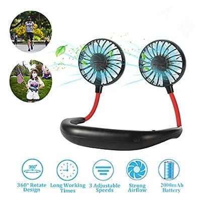 Neck Fan - Hand Free Fan 2020 New Wearable Fan 2000mAh Rechargeable Battery, Headphone Design Fan with 3 Speed, 360 degree Adjustment for Travel Outdoor Home Office Sport from HonTaseng
