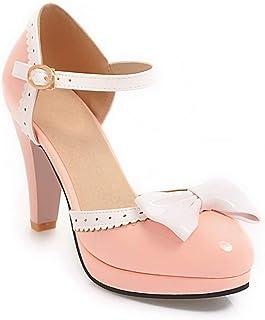 BalaMasa Womens ASL06453 Pu Block Heels