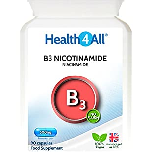 Health4All Vitamin B3 Nicotinamide (Niacinamide) 500mg 180 Capsules (V) | No-Flush Niacinamide | 100% Vegan | Free UK Delivery:Deepld