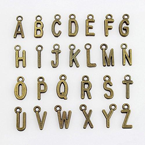 LolliBeads (TM) ジュエリー製造チャームアクセサリーパーツ ハンドメイド ブレスレットとネックレス手芸材料-アルファベット,アンティークブロンズ(古銅色) (104個入れ)