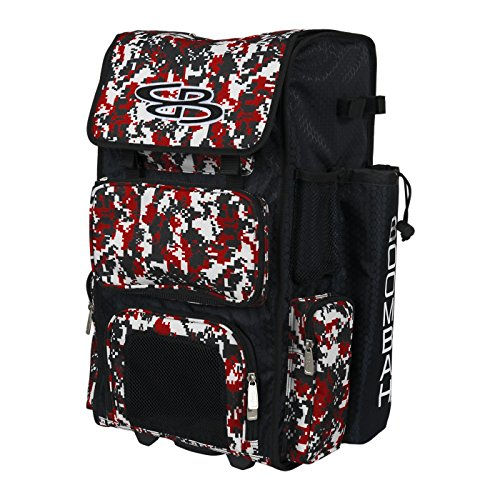 "Boombah Rolling Superpack Baseball / Softball Gear Bag - 23-1/2"" x 13-1/2"" x 9-1/2"" - Camo Black/Red - Telescopic Handle and Holds 4 Bats - Wheeled Version"