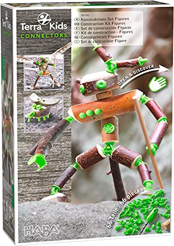 HABA Terra Kids Connectors Backyard Craft Kit Figures - 66 Piece Set with Plastic Connecrtors, Cork & Hand Drill - Add Wood from Nature - Ages 8+