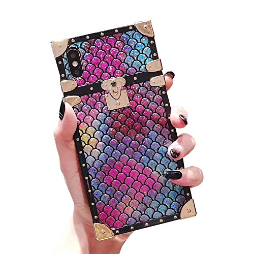 Square Mermaid Case for iPhone Xs Luxury Shining Cover for iPhone X 10 with Crossbody Chain Lanyard Flexible Shockproof Trunk Back Shell (Colorful Mermaid, iPhone X/XS 5.8'')