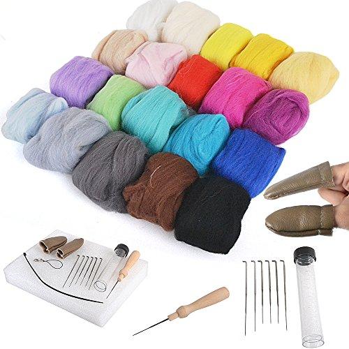 [All in One Set]Needle Felting Kit Craft Needle Felting Foam kit + Felting Mat + Awl Needles + Finger Gloves
