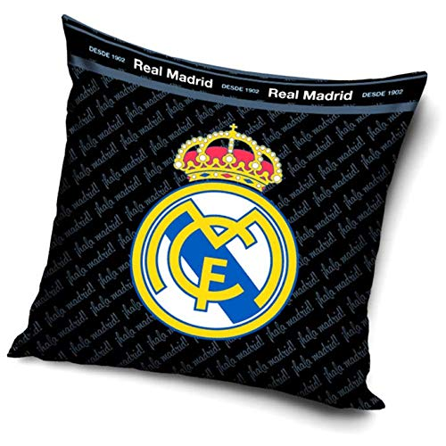 Real Madrid CF - Cojín Negro Real Madrid 40 x 40 cm. (Sin relleno)