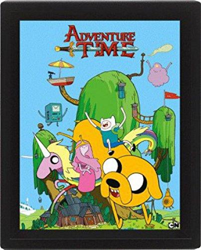 1art1 Adventure Time - Finn, Jake Und Prinzessin Bubblegum, 3D Poster Gerahmt 3D-Poster (gerahmt) 25 x 20 cm