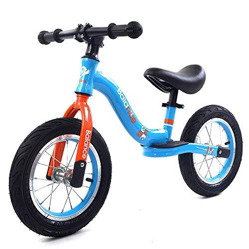 DKZK Bicicleta Equilibrio 12'14' NiñOs 2 A 6 AñOs Bicicleta Entrenamiento NiñOs PequeñOs Manillar/Asiento Ajustable Ligera Acero Al Carbono Sin Pedal para Caminar