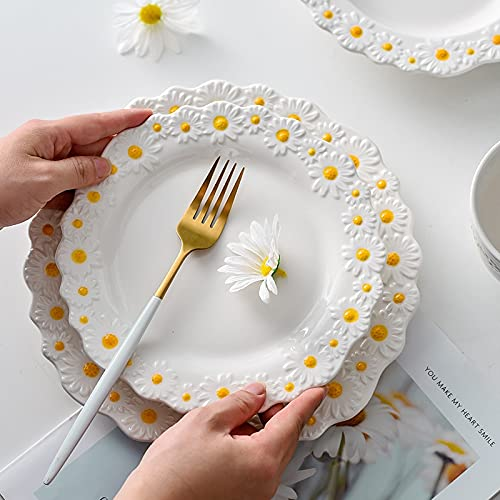 Ceramic Tableware Dishes and Plates Sets Small Daisy Underglaze Home Dinner Food Salad Bowl Cup Dessert Steak Tray Plate