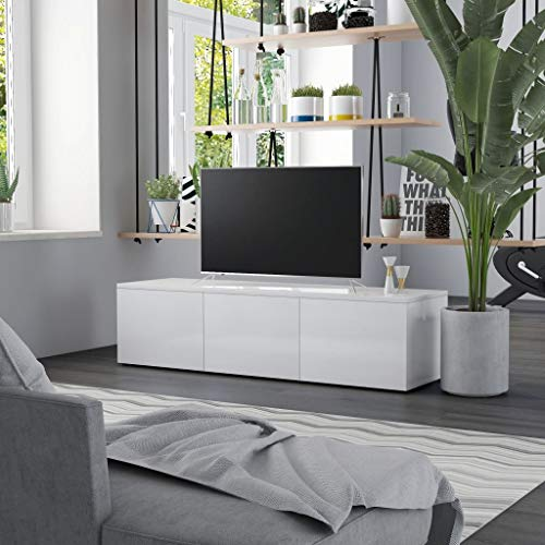 vidaXL Mueble para TV Armario de Televisión Aparador Auxiliar Comedor Salón Sala de Estar Habitación de Aglomerado Blanco Brillante 120x34x30 cm