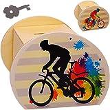 alles-meine.de GmbH große Holz - Spardose - Fahrrad / Bike - E-Bike - mit Schlüssel & Schloß - stabile Sparbüchse - 11,5 cm - Sparschwein - für Kinder & Erwachsene - Kinderspardo..