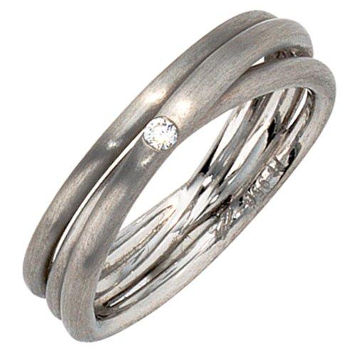 JOBO Damen-Ring 950 Platin mattiert 1 Diamant-Brillant