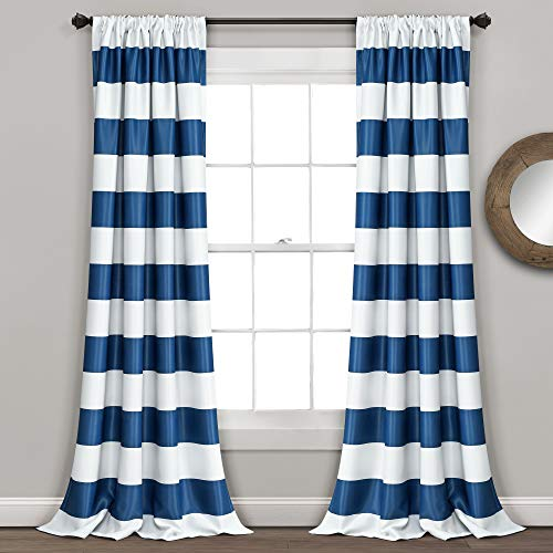 "Lush Decor, Navy Stripe Blackout Curtains | Room Darkening Window Panel Set (Pair), 84"" x 52, 84 x 52-Inch"