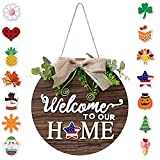 Cartel de bienvenida para puerta de casa, corona de bienvenida con 14 decoraciones magnéticas intercambiables, cartel de madera para casa de campo, porche, decoración rústica para pared