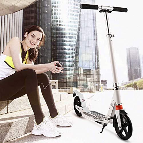 WeSkate Erwachsene Cityroller Tretroller Klappbar und Faltbar, Big Wheel City Roller Scooter Höhenverstellbar mit Doppel Federung für Erwachsene Jugendliche und Kinder ab 8 Jahre bis 100kg, Weiß