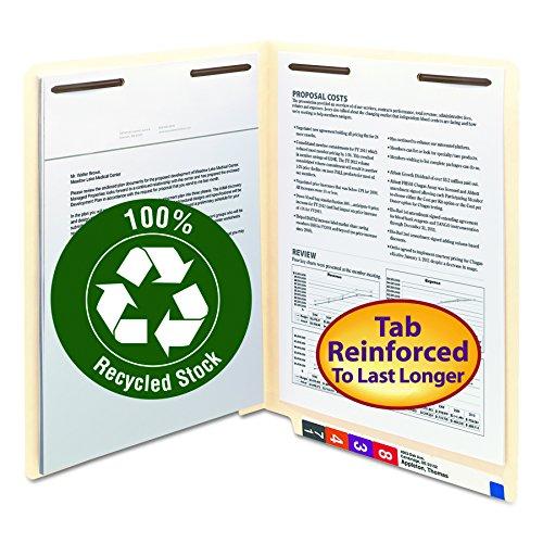 Smead 100% Recycled End Tab Fastener File Folder, Shelf-Master Reinforced Straight-Cut Tab, 2 Fasteners, Letter Size, Manila, 50 per Box (34160)