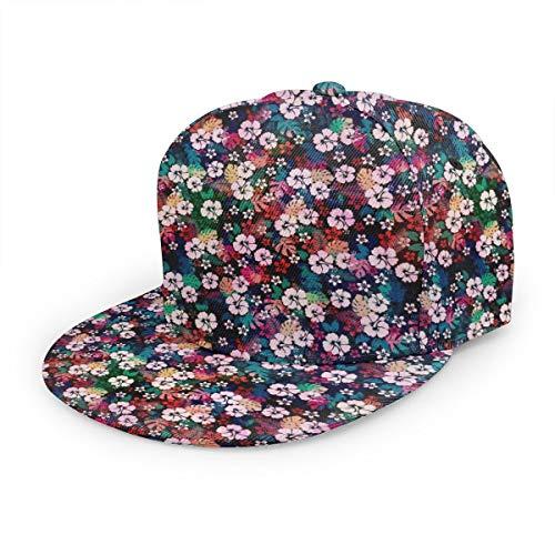 antkondnm Hawaiian Tropical Floral Flat Brim Hip Hop Adjustable Hat Stylish Snapback Baseball Cap