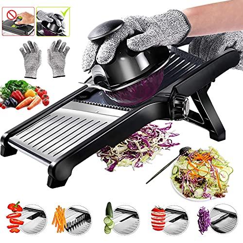 Mandoline Slicer for Kitchen, Adjustable Stainless Steel Food Vegetable Potato Onion Slicer French Fry Cutter, Slicer Julienne with Cut-Resistant...