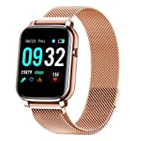 French Connection F1 (Color : Rose Gold ) Touch screen Unisex Metal case Smartwatch with Heart rate...
