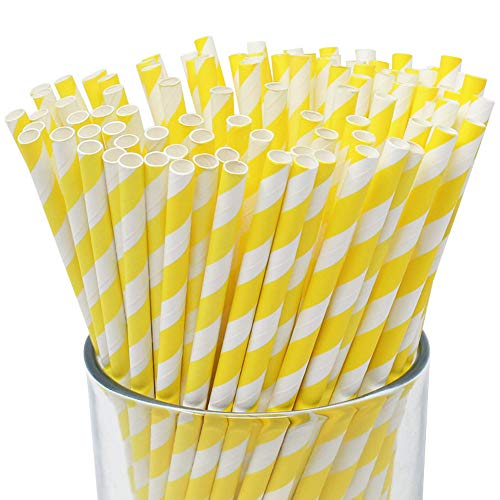 Just Artifacts Premium Biodegradable Disposable Drinking Striped Paper Straws (100pcs, Yellow)