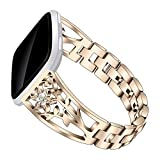 elecfan Versa Lite Strap, Rhinestone Stainless Steel Sport Band Easy to Removetable and Install Watch Strap for Fitbit Versa/Versa 2/Versa Lite,Gold