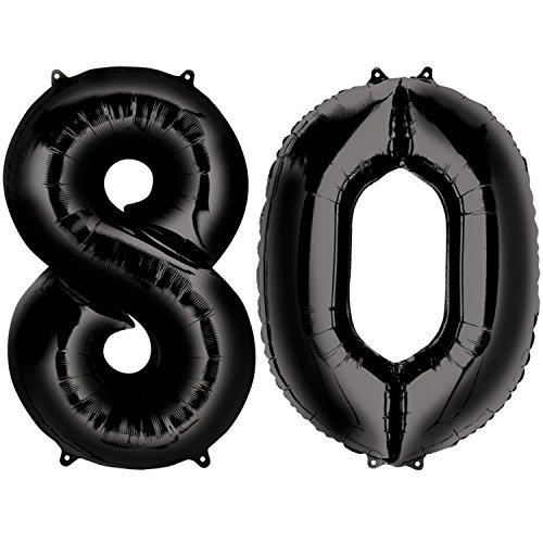 Carpeta Folienballon * Zahl 80 * in Schwarz als Deko für 80. Geburtstag | 86cm groß, für Luft und Helium | Party achtzig Dekoration Jubiläum Metallfolie