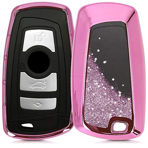 kwmobile Autoschlüssel Hülle kompatibel mit BMW 3-Tasten Funk Autoschlüssel (nur Keyless Go) - TPU Schutzhülle Schlüsselhülle Cover Schneekugel Sterne Pink Metallic Pink