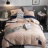 SKSK Bettwäsche Bed vierteilige Baumwolle Baumwolle Stickerei Bettlaken Trampolin einfache einfache...