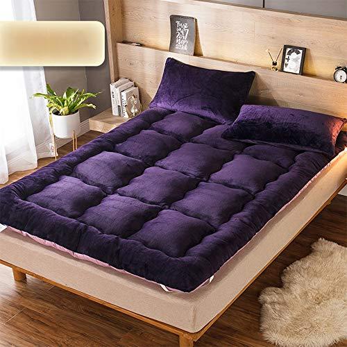 YUMUO Thicken Futon Mattress Topper, Foldable Tatami Floor Mat Flannel Soft Skin-friendly Sleeping Mattress Pad For Single Double Mattress -i Queen