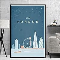 ポスターと版画英国ロンドンスカイライントラベルアート画像キャンバスポスターと版画HDプリント油絵壁画リビングルーム家の装飾フレームレス絵画