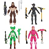 """Fortnite Squad Mode 4 Figure Pack, Series 4 - Includes 4"""" King Flamingo, Prickly Patroller, Bigfoot, Elite Agent, Plus 5 Harvesting Tools, 4 Weapons, 4 Building Materials - Battle Ready"""