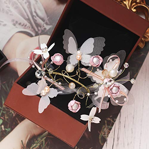 weichuang Pulsera de flores para niñas, diseño de mariposas, flores, damas de honor, hermanas, novia, corbata, flores, muñeca de flores (color: blanco)