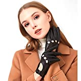 Womens Vintage Soft And Thin Excellent Quality Lambskin Touch Screen Black Leather Driving Gloves