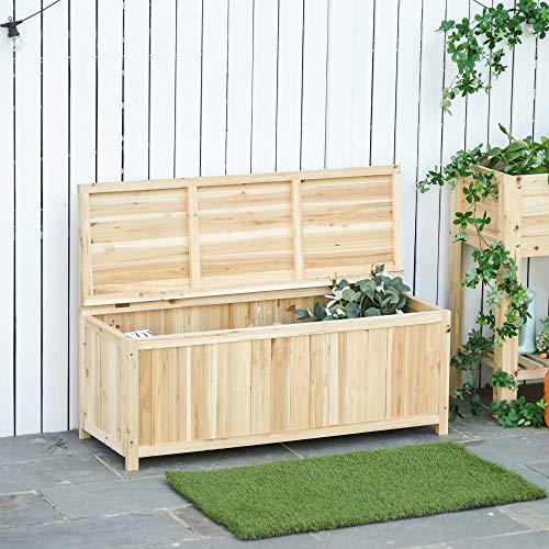Outsunny Gartenbank mit Stauraum Truhenbank Sitzbank 2-Sitzer 250 kg Belastbarkeit Natur Tanneholz 115 x 45 x 75 cm - 2