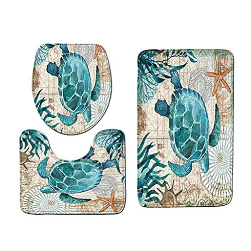 B Blesiya 3 Pezzi Tappetino da Bagno Antiscivolo + Coperchio a Forma di U + Copriwater - Tartaruga di Mare