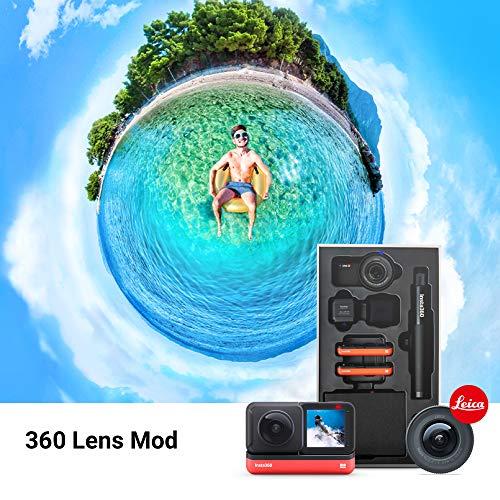 Insta360 ONE R Ultimate Kit - Fotocamera da 5,3K con sensore da 1 pollice e da 5,7K 360 con lenti intercambiabili, stabilizzazione, impermeabile (selfie stick, memory card da 32 GB, batteria)
