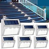 Lámparas solares de pared para exteriores, 3 ledes, acero inoxidable, resistentes al agua, para escaleras, jardín, terraza, patio, 10 unidades