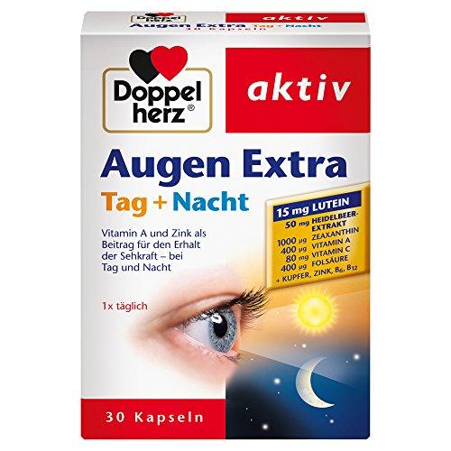 Doppelherz Augen Extra Tag + Nacht / Nahrungsergänzungsmittel mit Vitamin A & Zink, 30 Kapseln