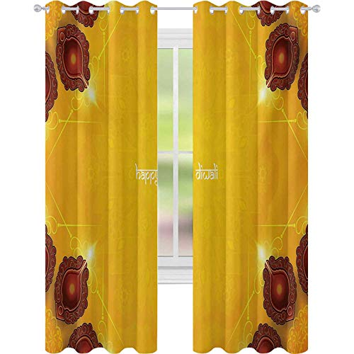 Blackout Curtains, Paisley Design and Backdrop with Wooden Candle like Ornamental Frames Artwork Print, W52 x L72 Window Curtain Panel for Bedroom, Yellow