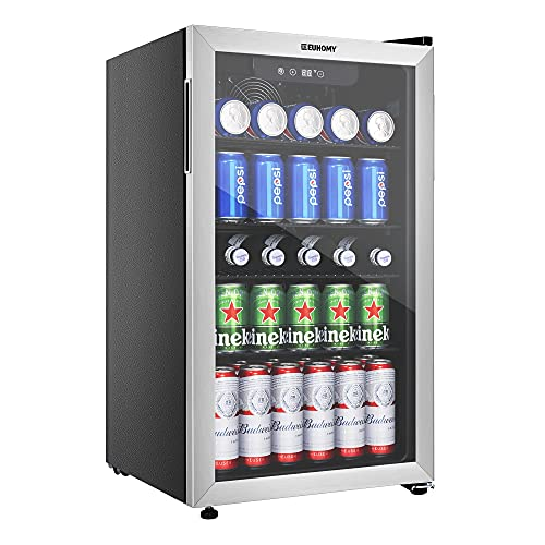 Euhomy Beverage Refrigerator and Cooler, 120 Can Mini fridge with Glass Door, Small Refrigerator with Adjustable Shelves for Soda Beer or Wine, Perfect for Home/Bar/Office