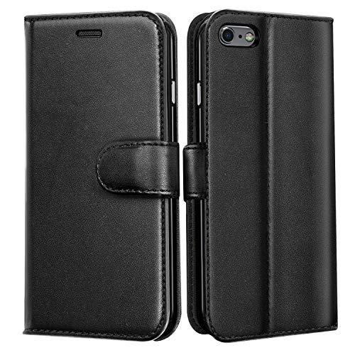 J Jecent iPhone 6 Hülle iPhone 6s hülle PU Flip Leder handyhülle mit Cash Card Slots, Ständer Funktion und Magnetverschluss Wallet Case Cover für iPhone 6/6s - Schwarz